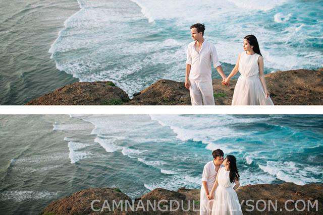 Một vẻ đẹp hài hòa giữa biển và núi. Sự giản dị đơn giản cặp đôi tạo nên sự cân đôi cho bức ảnh cưới.