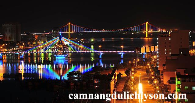 Cầu Sông Hàn và Cầu Thuận Phước về đêm
