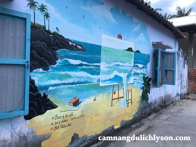 Bức họa về cảnh đẹp ở Đảo Bé Lý Sơn