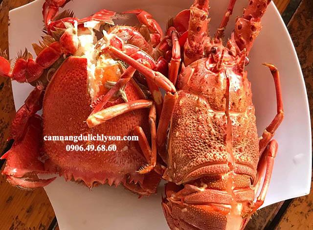 Cua huỳnh đế + tôm hùm hải sản cao cấp khi du lịch Lý Sơn